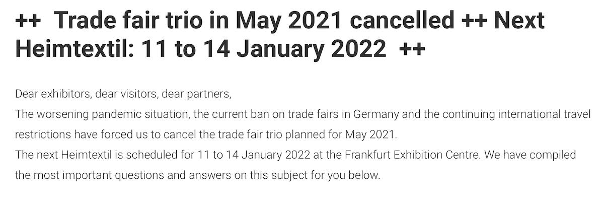Heimtextil 2021 cancelled